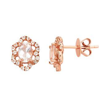 14k Rose Gold Over Silver Morganite & White Zircon Flower Stud Earrings