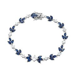 Sterling Silver Lab-Created Blue & White Sapphire Leaf Tennis Bracelet