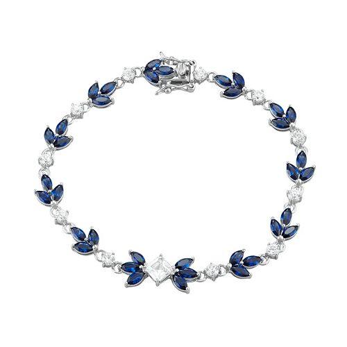Sterling Silver Lab-Created Blue & White Sapphire Leaf Tennis Bracelet