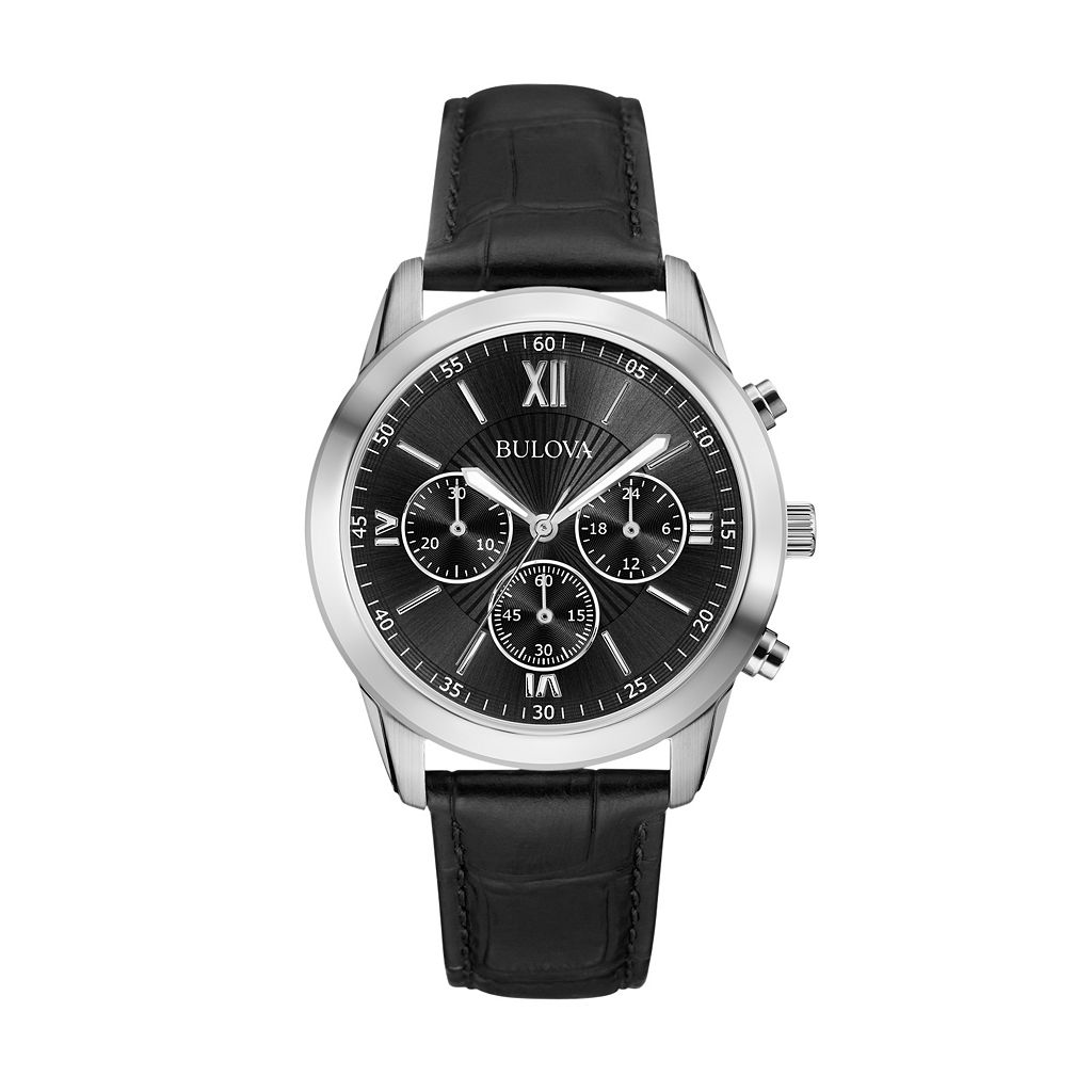 Bulova Men's Leather Chronograph Watch - 96A173