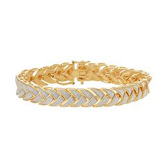 18k Gold Over Silver Glitter Braided Bracelet