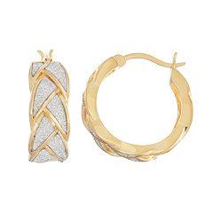 18k Gold Over Silver Glitter Braided Hoop Earrings