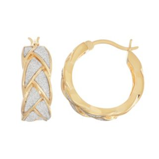 18k Gold Over Silver Glitter Braided Hoop Earrings