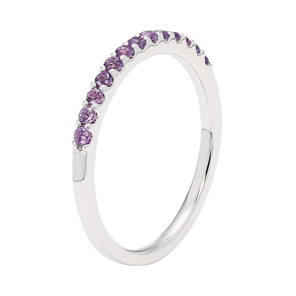 14k White Gold Amethyst Stackable Ring