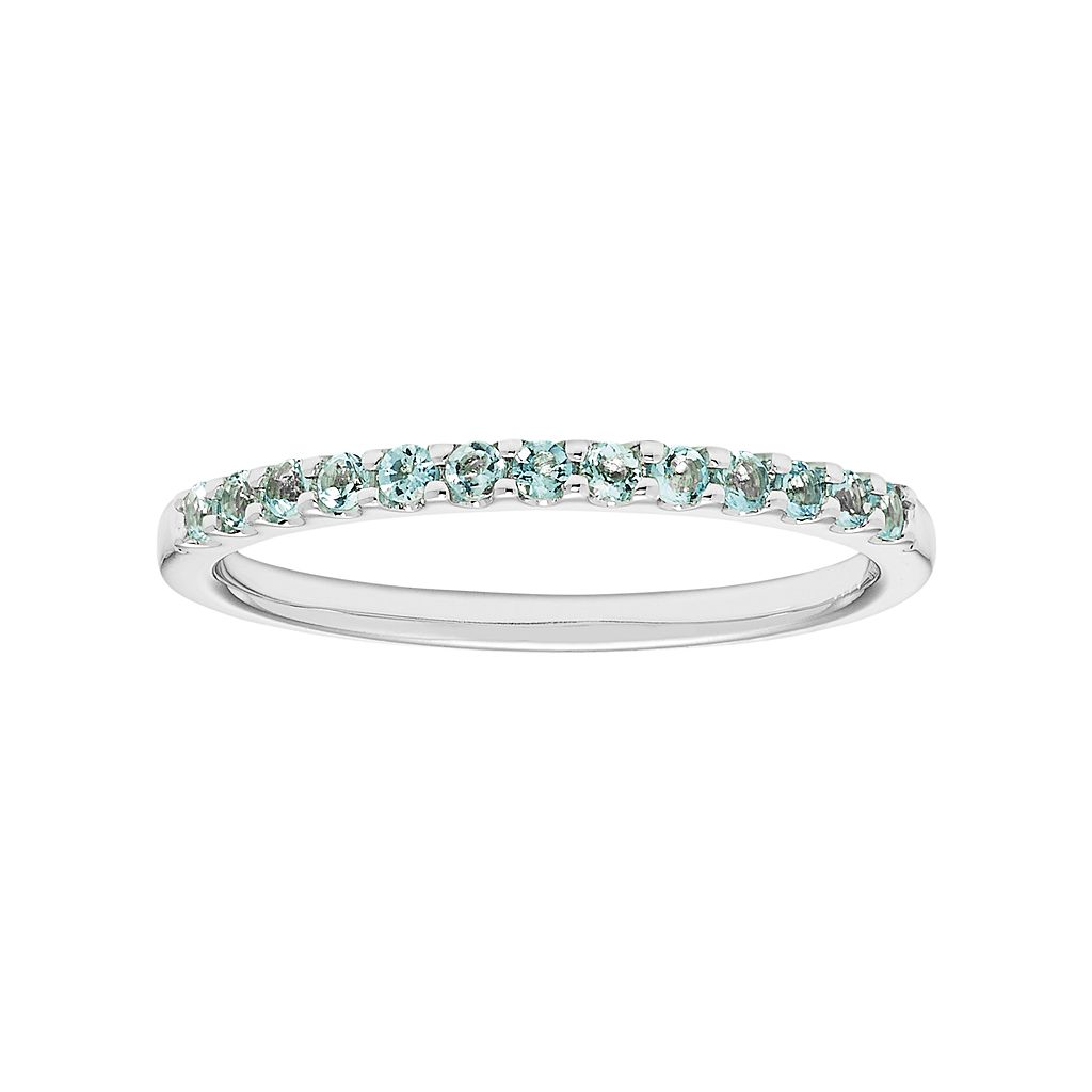 14k White Gold Aquamarine Stackable Ring