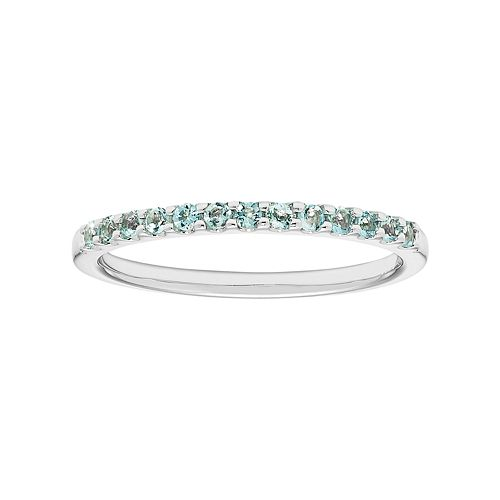 14k White Gold Aquamarine Stackable Ring