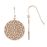 18k Rose Gold Over Silver Glitter Filigree Disc Drop Earrings