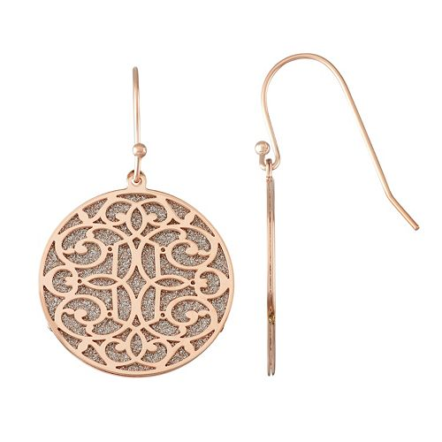 18k Rose Gold Over Silver Glitter Filigree Disc Drop Earrings