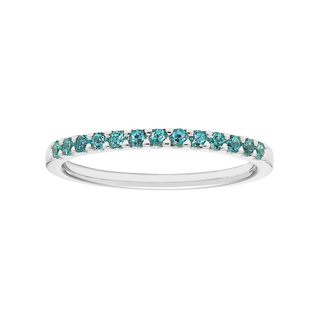 14k White Gold Lab-Created Alexandrite Stackable Ring