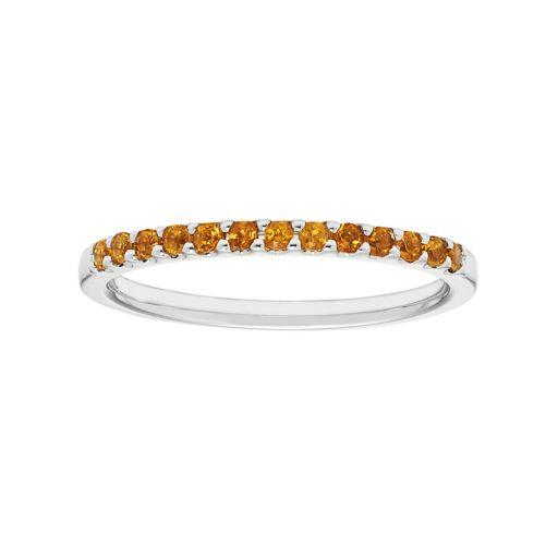 14k White Gold Citrine Stackable Ring