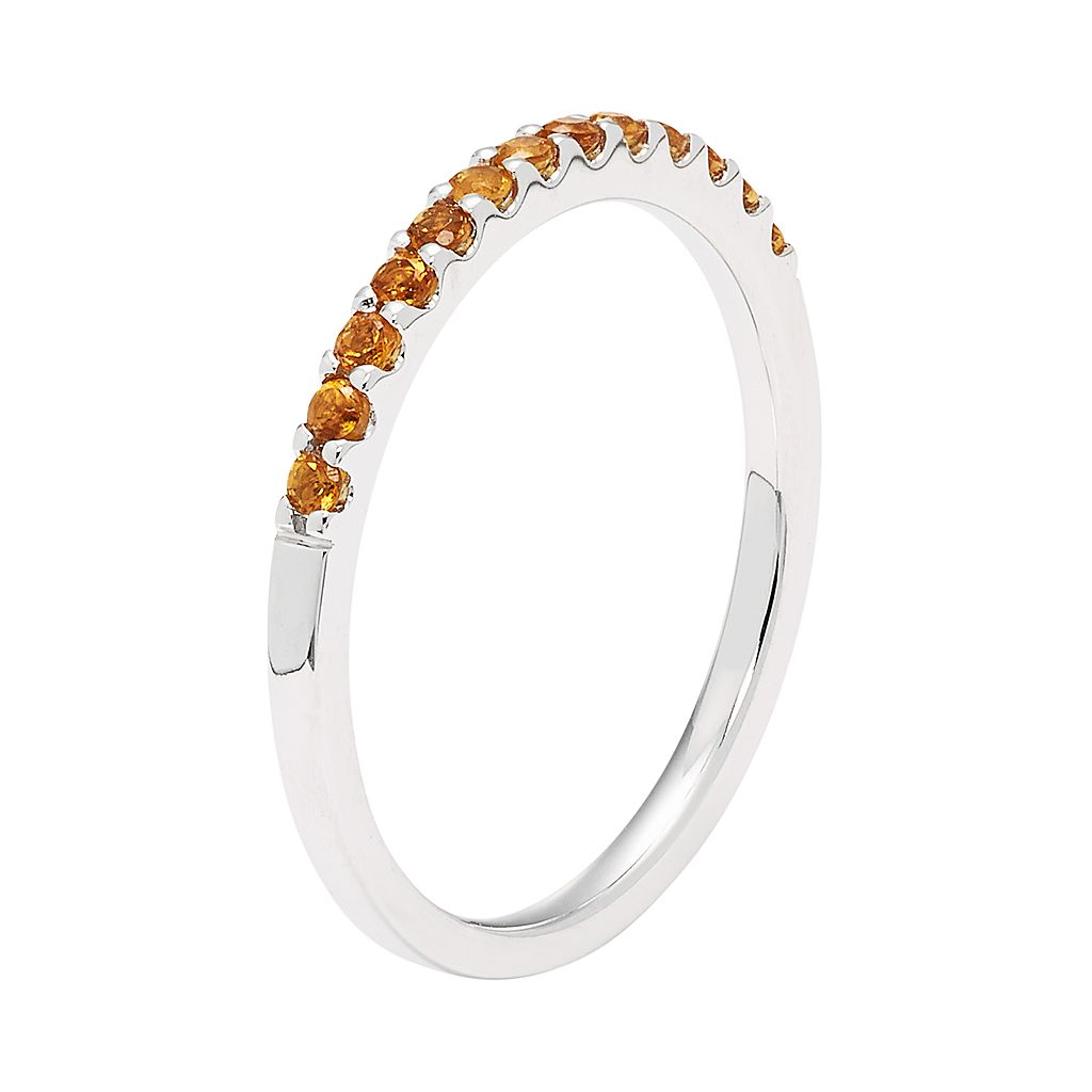 14k White Gold Citrine Stackable Ring