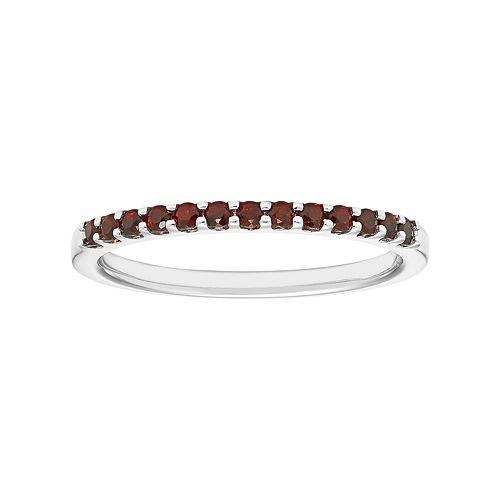 14k White Gold Garnet Stackable Ring