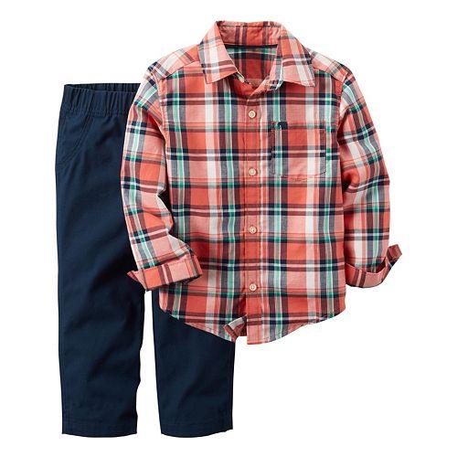 Toddler Boy Carter's Plaid Button-Down Shirt & Pants Set