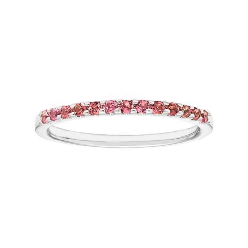 14k White Gold Pink Tourmaline Stackable Ring