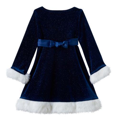 Girls 4-6x Bonnie Jean Velvet Stretch Empire Santa Dress