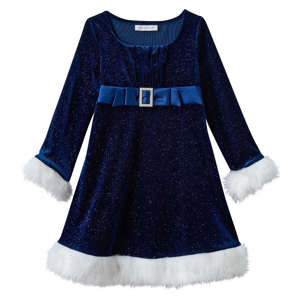 Girls 4-6x Bonnie Jean Velvet Stretch Empire Santa Dress