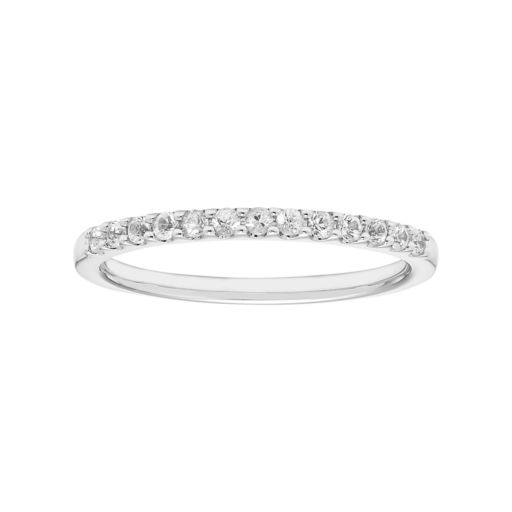 14k White Gold White Sapphire Stackable Ring