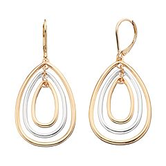 Napier Two Tone Triple Teardrop Earrings