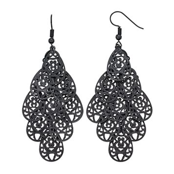 Textured Filigree Teardrop Nickel Free Kite Earrings
