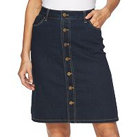 Women's Croft & Barrow® Button-Front Jean Skirt