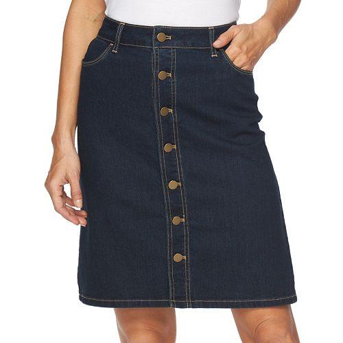 Women's Croft & Barrow® Button-Front Jean Skirt
