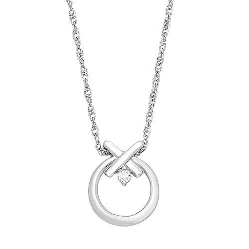 Sterling Silver Diamond Accent XO Pendant Necklace