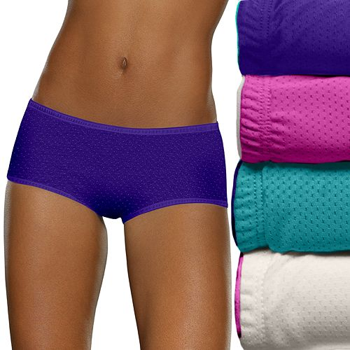 11dd7aa2aa80 Fruit of the Loom 4-pack Breathable Micro Mesh Boy Short Panties 4DBKBST