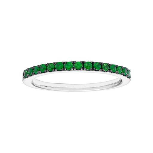 14k White Gold Emerald Stackable Ring