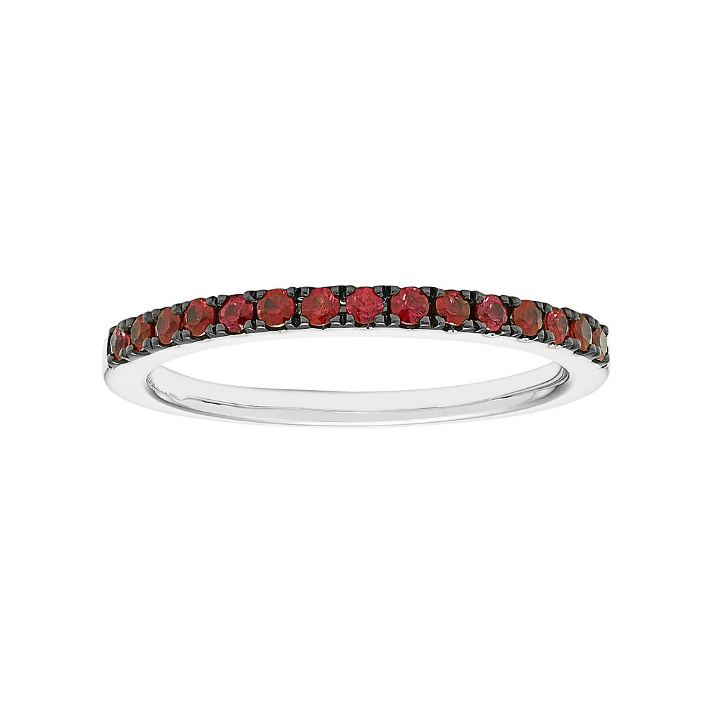 14k White Gold Ruby Stackable Ring