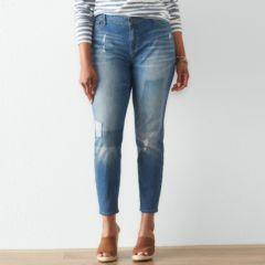 Plus Size SONOMA Goods for Life™ Rip & Repair Skinny Jeans