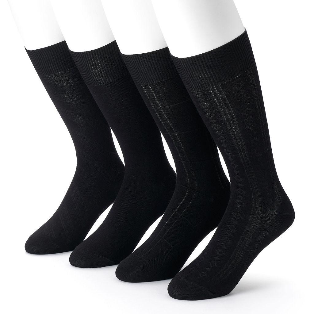 Men's Croft & Barrow® 4-Pack Textured Windowpane Dress Socks