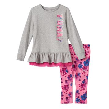 Baby Girl PUMA Ruffled Tee & Floral Leggings Set