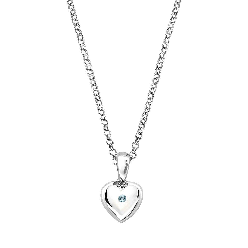 Little Diva Diamonds Kids' Sterling Silver Aquamarine Heart Pendant