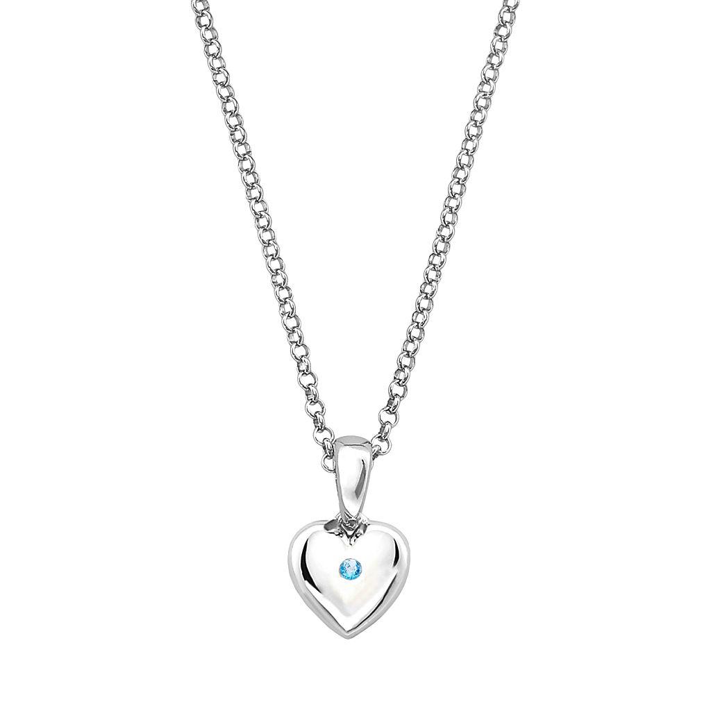 Little Diva Diamonds Kids' Sterling Silver Blue Topaz Heart Pendant
