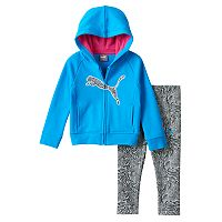 Baby Girl PUMA Fleece-Lined Logo Hoodie & Zebra Leggings Set