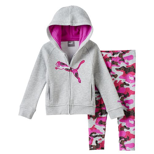 a59b08fdd8878 Baby Girl PUMA Fleece-Lined Logo Hoodie & Printed Leggings Set