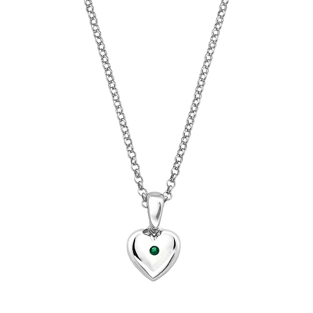Little Diva Diamonds Kids' Sterling Silver Lab-Created Emerald Heart Pendant
