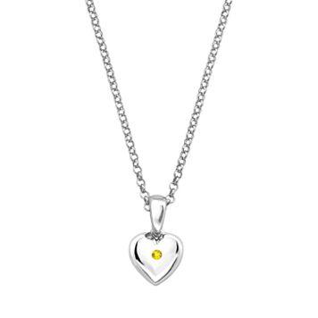 Little Diva Diamonds Kids' Sterling Silver Citrine Heart Pendant