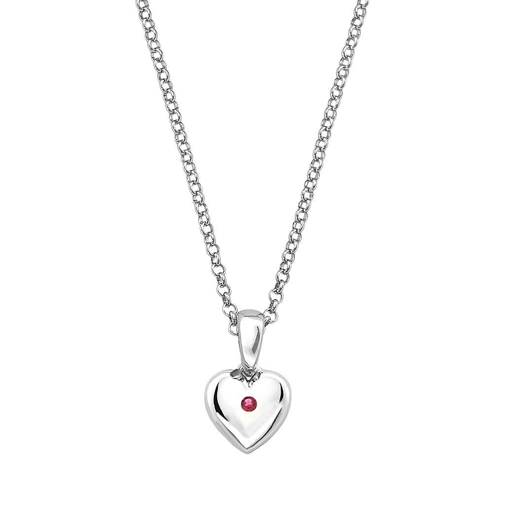 Little Diva Diamonds Kids' Sterling Silver Lab-Created Ruby Heart Pendant