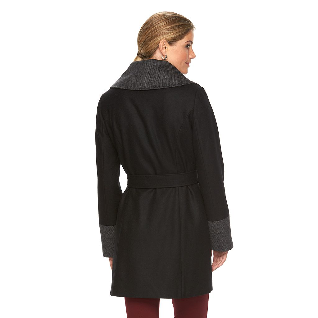 Women's Braetan Large Collar Hooded Wrap Coat