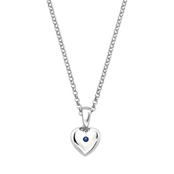 Little Diva Diamonds Kids' Sterling Silver Lab-Created Sapphire Heart Pendant