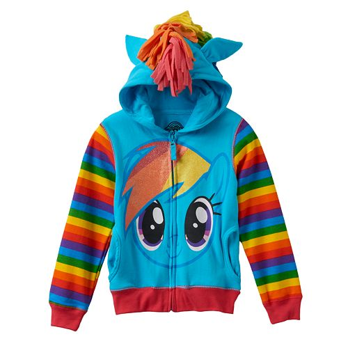 Toddler Girl My Little Pony Rainbow Dash Fringe Glitter Hoodie