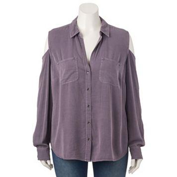 Plus Size Rock & Republic® Cold-Shoulder Shirt