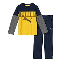 Boys 4-7 PUMA Colorblocked Mock-Layer Tee & Pants Set