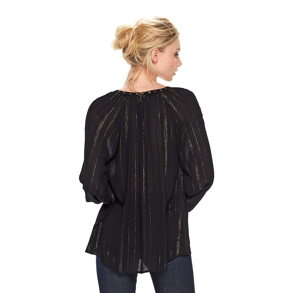 Women's Rock & Republic® Metallic Stripe Peasant Top