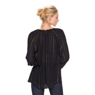 Women's Rock & Republic® Metallic Stripe Peasant Top