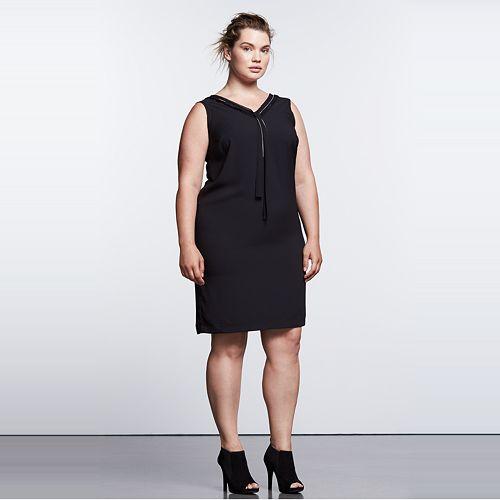 d40c46c78735 Plus Size Simply Vera Vera Wang Simply Noir Ruffle Shift Dress