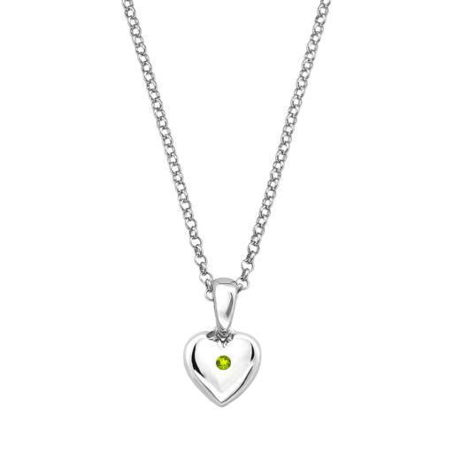 Little Diva Diamonds Kids' Sterling Silver Peridot Heart Pendant
