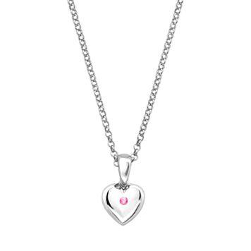 Little Diva Diamonds Kids' Sterling Silver Pink Tourmaline Heart Pendant