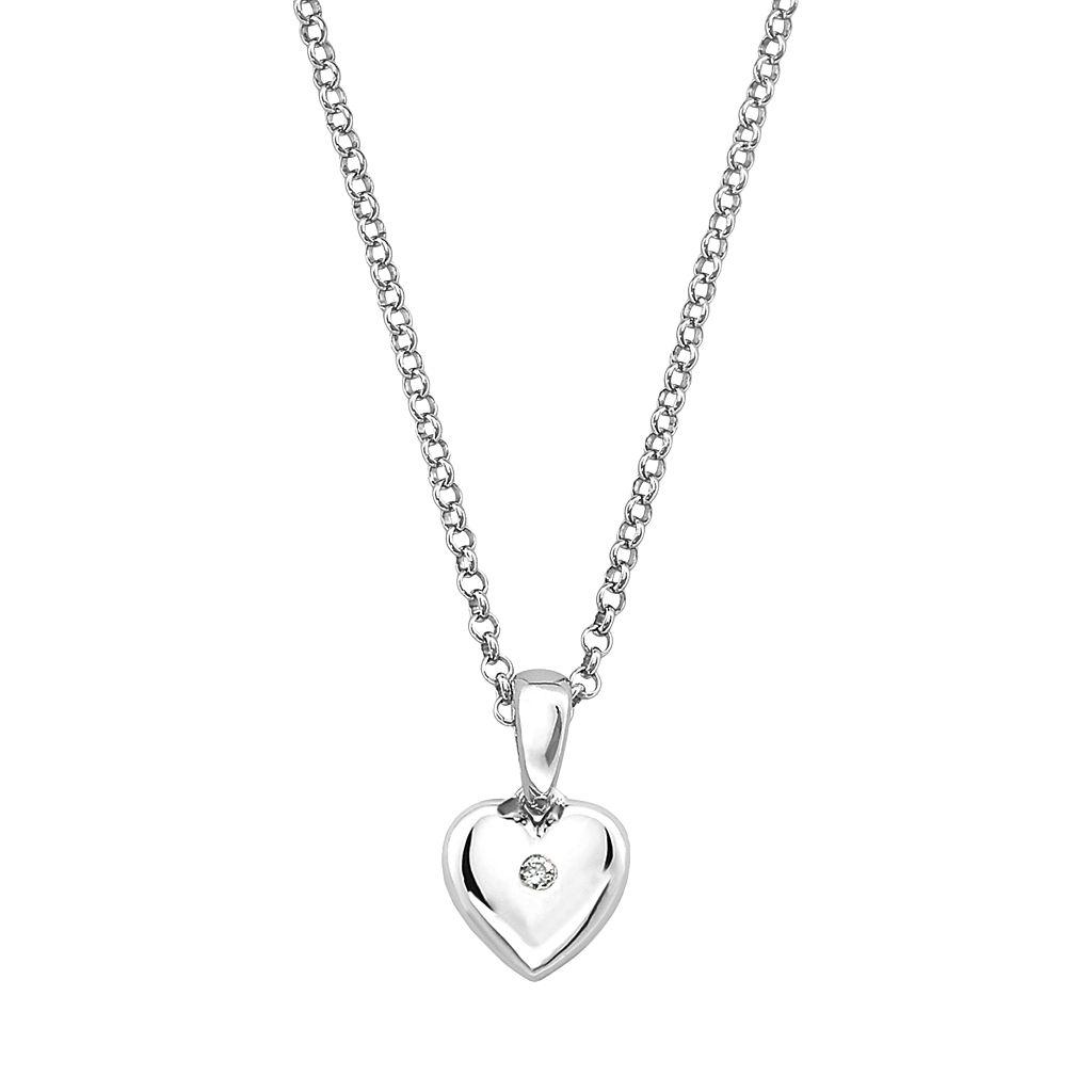 Little Diva Diamonds Kids' Sterling Silver White Sapphire Heart Pendant